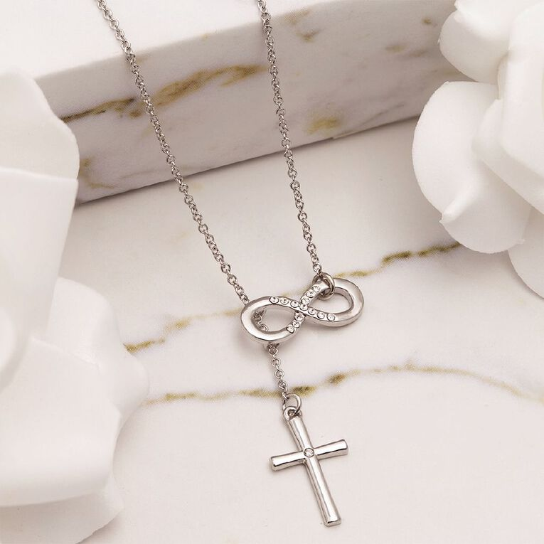 Mestige Silver Plated Forever Blessed Necklace with Swarovski Crystals, , hi-res