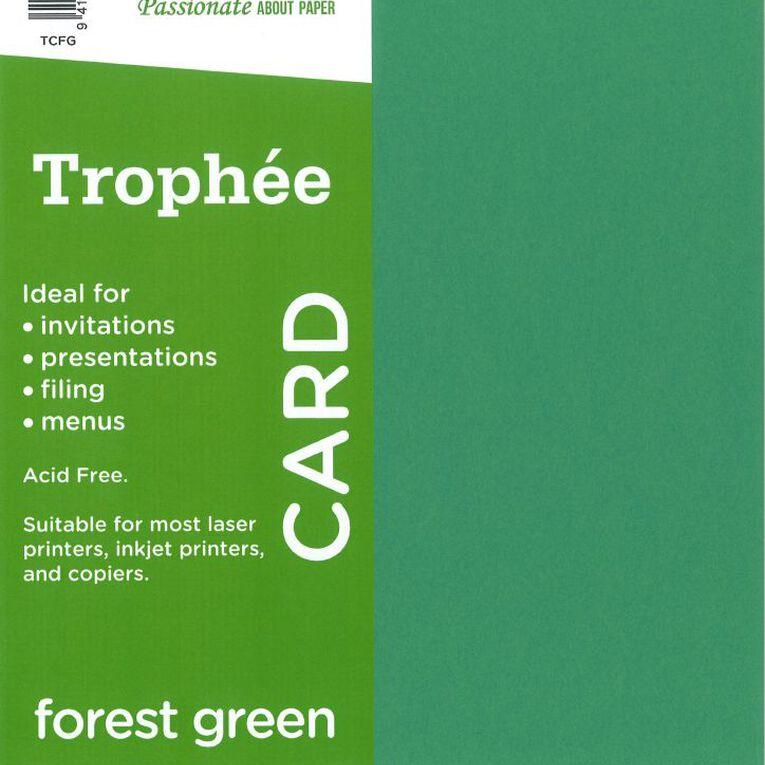 Trophee Card 160gsm 15 Pack Forest Green A4, , hi-res