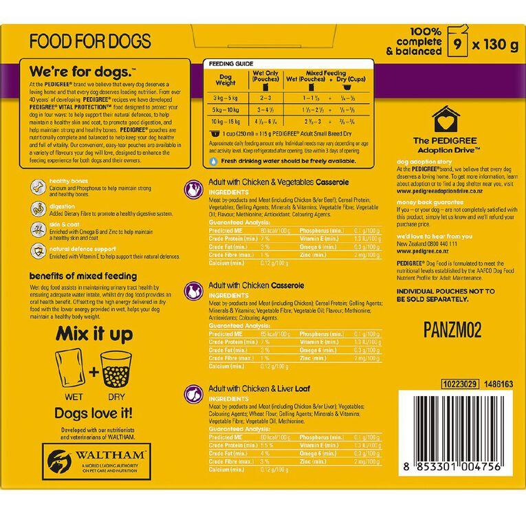 Pedigree With Chicken Vegetables Casserole 9 x130g Pouches, , hi-res