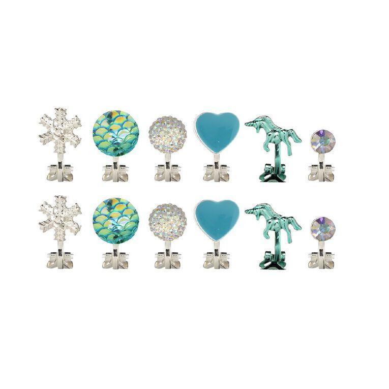 Kids' Mermaid Snowflake Unicorn 6pr Clip Earrings, Multi-Coloured, hi-res