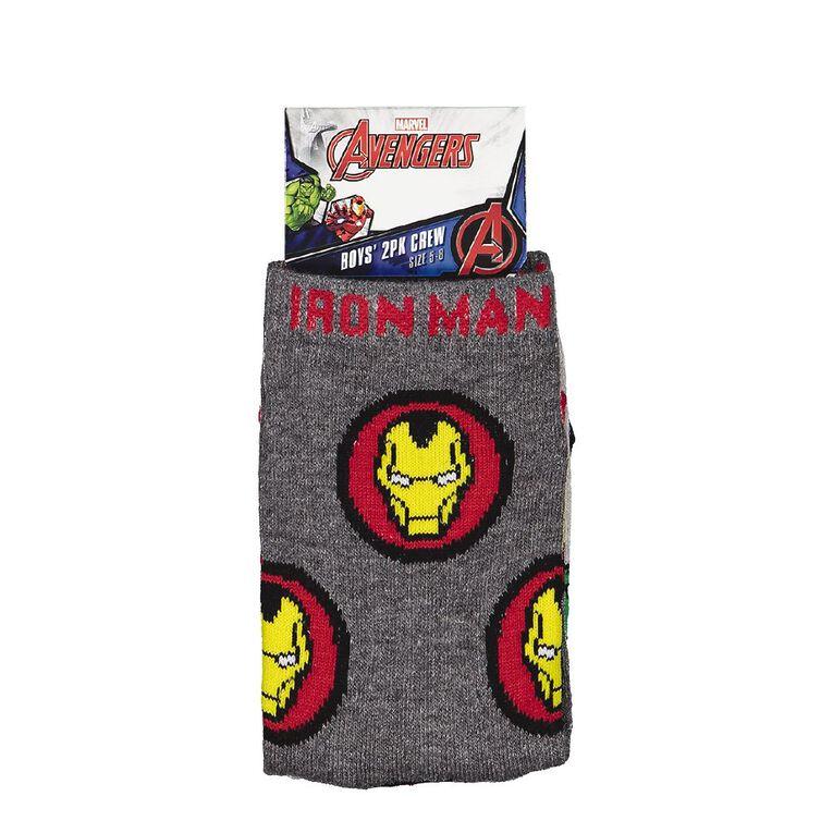 Marvel Boys' Crew Socks 2 Pack, Charcoal/Marle, hi-res