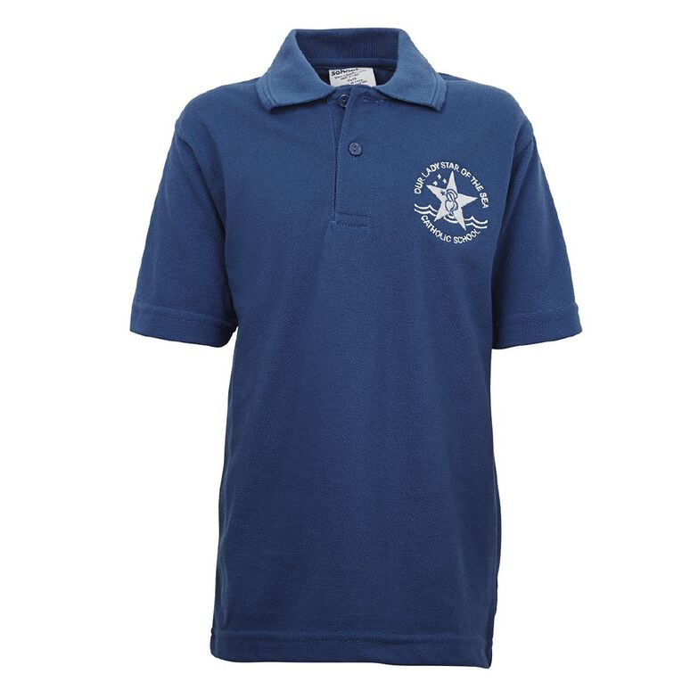 Schooltex Our Lady Star of the Sea Short Sleeve Polo with Embroidery, Royal, hi-res