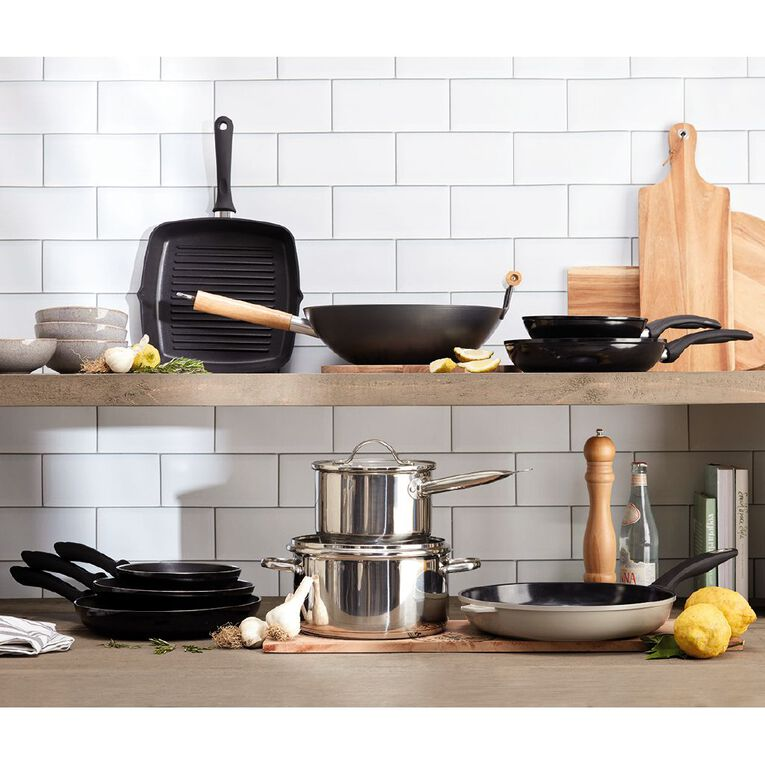 Arcosteel Non Stick Wok with Wooden Handle Black 35cm, , hi-res