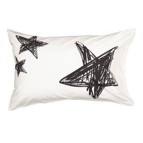 Living & Co Kids Pillowcase Cotton Rich Stars White Standard