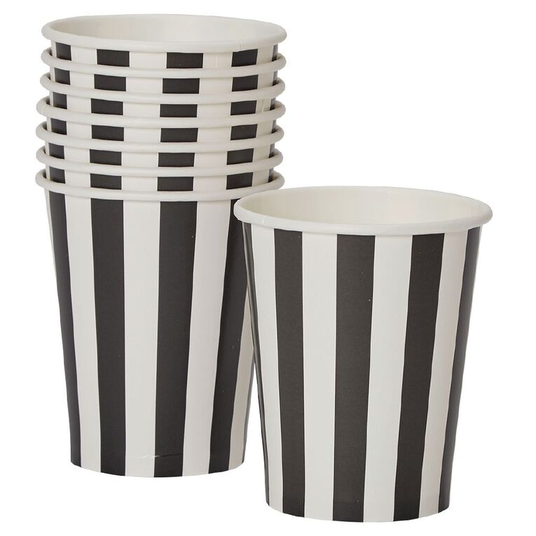 Party Inc Black & White Stripe Paper Cups 250ml 8 Pack, , hi-res