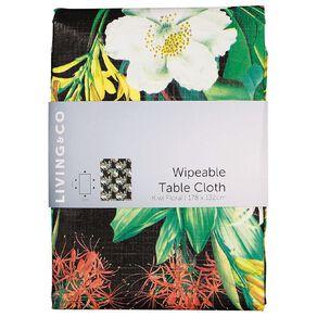 Living & Co Table Cloth Plastic Kiwi Floral 178cm x 132cm