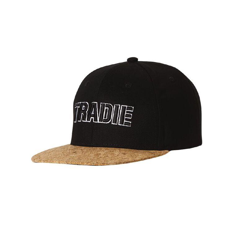Tradie Flat Trim Cork Cap, Black, hi-res