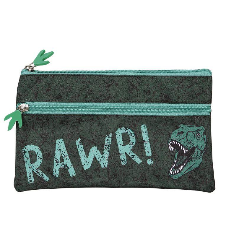 Kookie Rawr Pencil Case 2 Pocket Rawr Green Dark, , hi-res