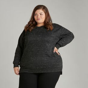 H&H Plus Women's Longline Crew Neck Sweatshirt