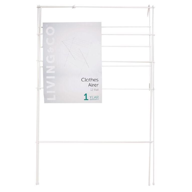 Living & Co Clothes Airer White 12 Rail, , hi-res