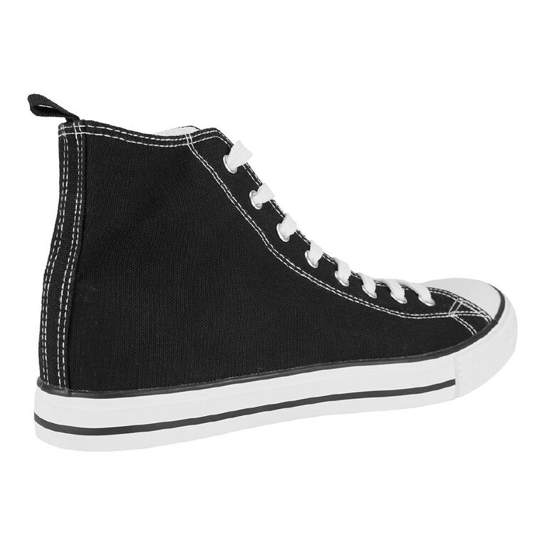 H&H Mens Freestyle Canvas High Top Sneakers, Black/White, hi-res