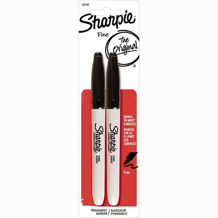 Sharpie Permanent Fine Marker Black 2 Pack, , hi-res
