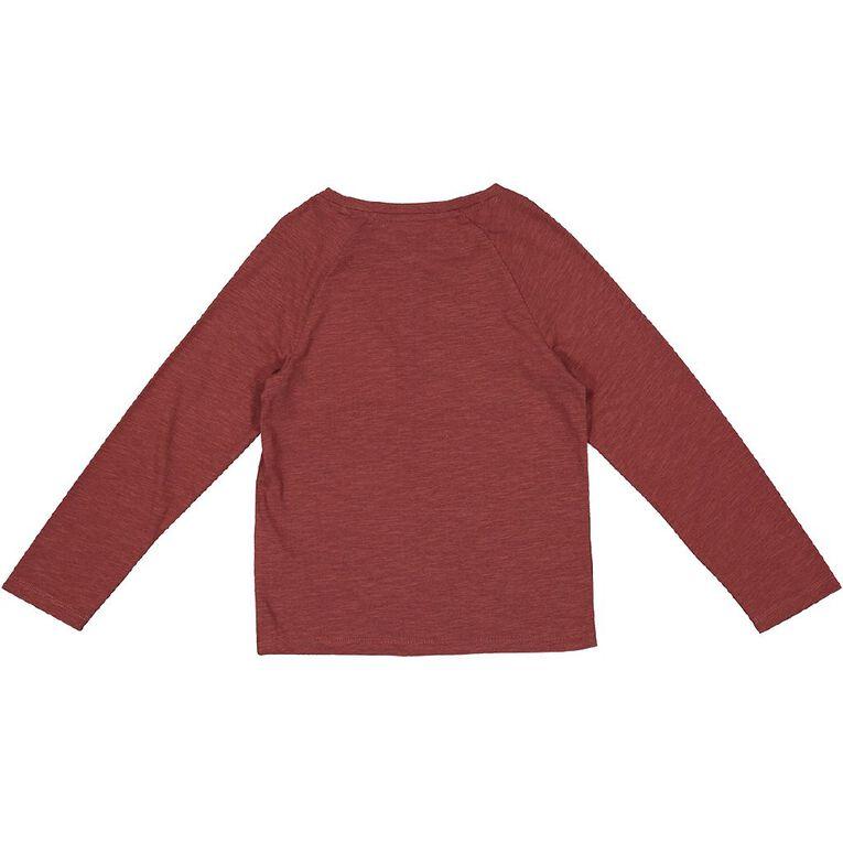Young Original Long Sleeve Henley Tee, Red Dark, hi-res