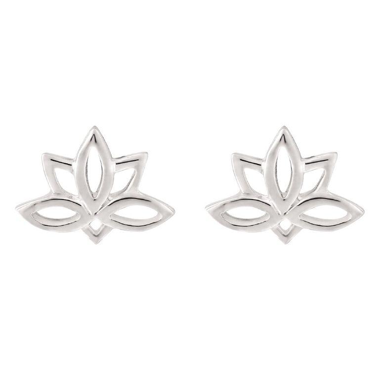 Sterling Silver Lotus Flower Stud Earrings, , hi-res