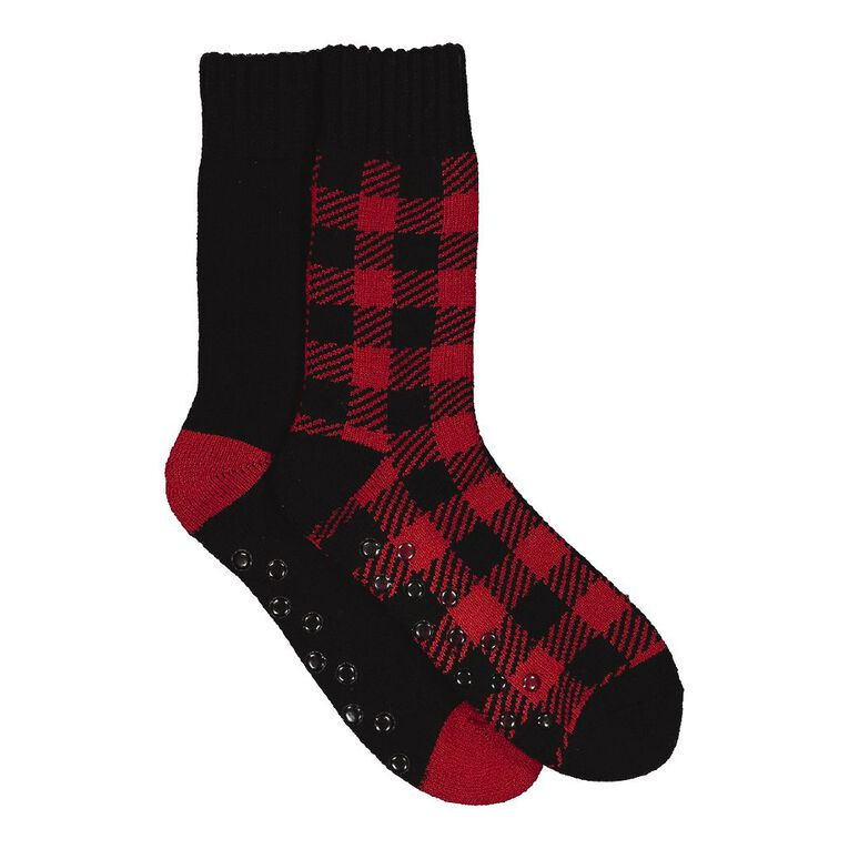 H&H Men's Lodge Socks 2 Pack, Red, hi-res