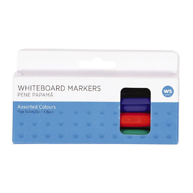 WS Whiteboard Markers Fine 4 Pack Assorted, , hi-res