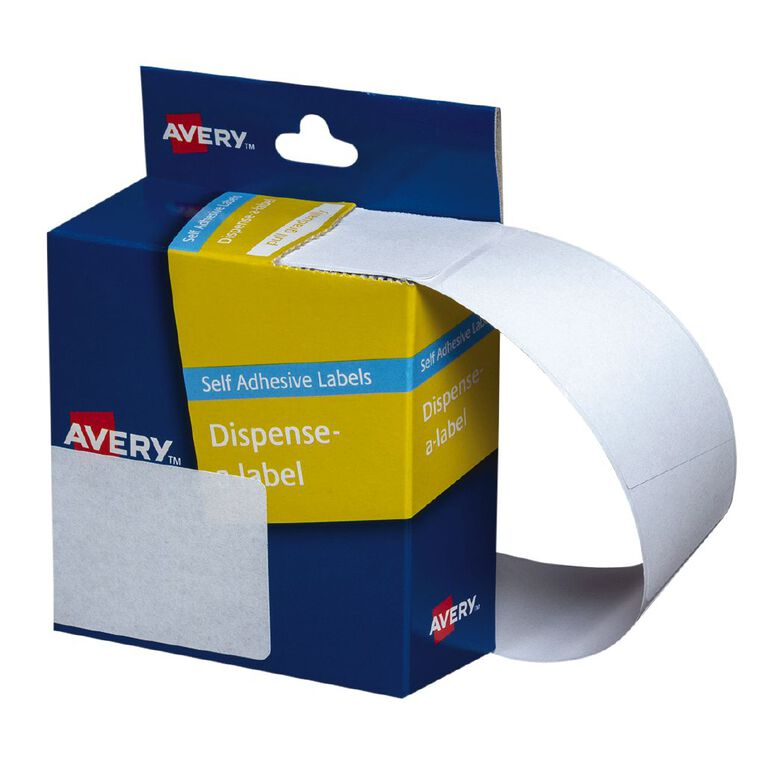 Avery White Rectangle Dispenser Stickers 63x44mm 150 Labels Handwritable, , hi-res