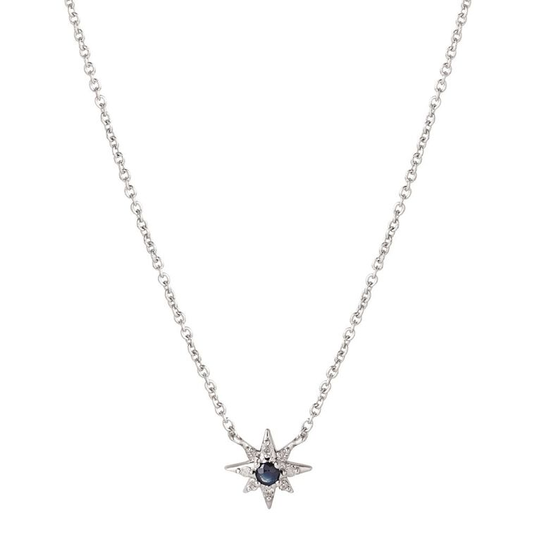 Sterling Silver Diamond & Sapphire Southern Cross Necklet, , hi-res