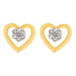 0.05 Carat Diamond 9ct Gold Heart Cluster Stud Earrings