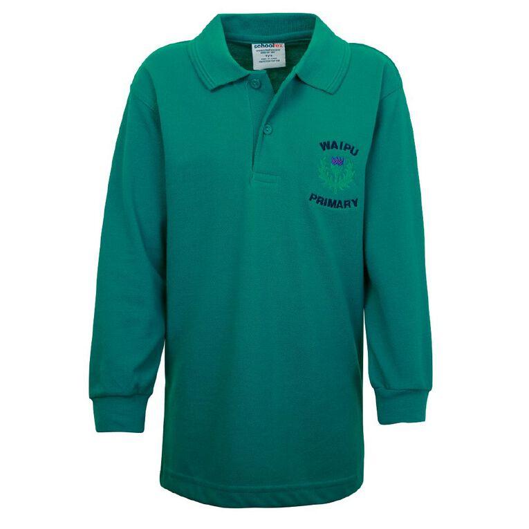 Schooltex Waipu School Long Sleeve Polo with Embroidery, Jade, hi-res