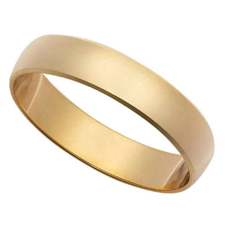 9ct Gold Half Round Bevel Wedding Ring, Yellow Gold, hi-res image number null