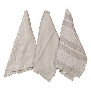 Living & Co Aria Tea Towel Set 3 Pack Grey 40cm x 65cm