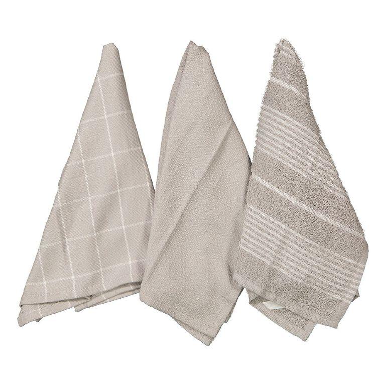 Living & Co Aria Tea Towel Set 3 Pack Grey 40cm x 65cm, , hi-res