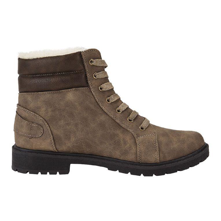 H&H Women's Combat Cushion Collar Boots, Brown, hi-res
