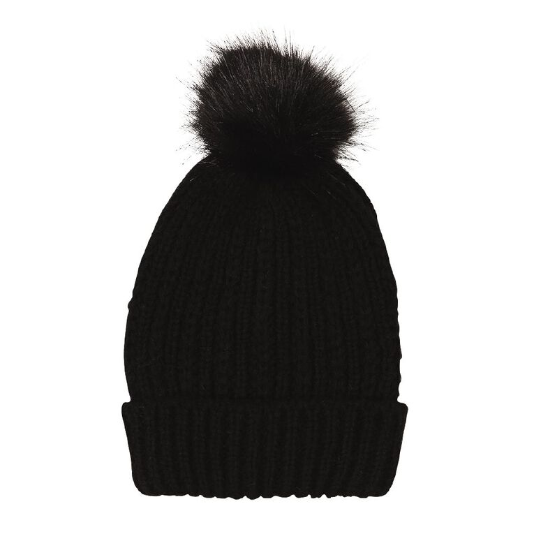 H&H Soft Knit Pom Pom Beanie, Black, hi-res