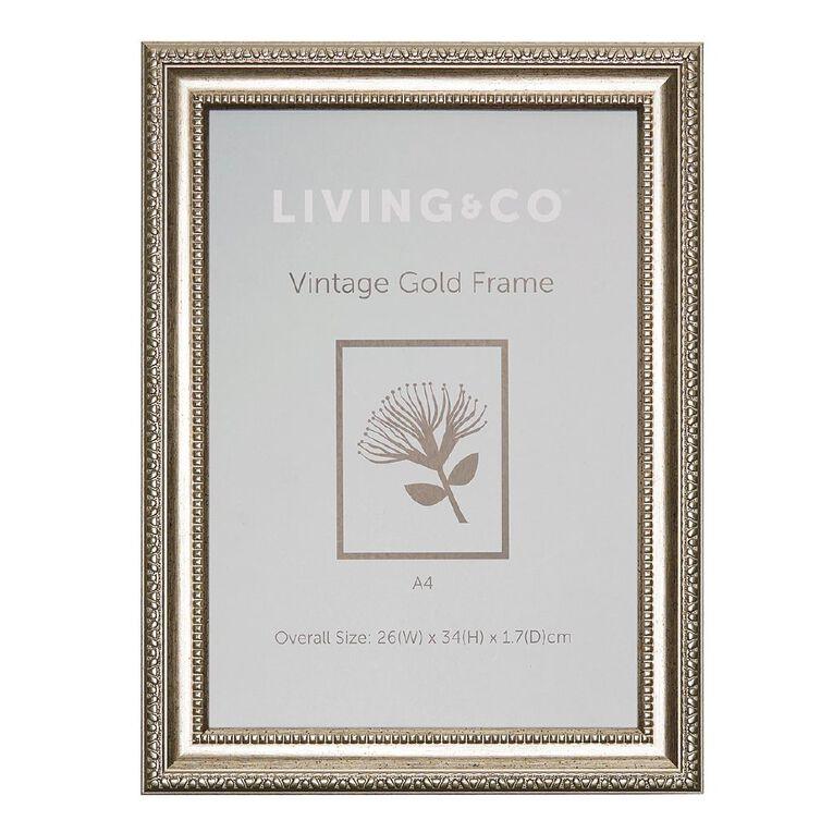 Living & Co Vintage Frame A4 Gold, , hi-res