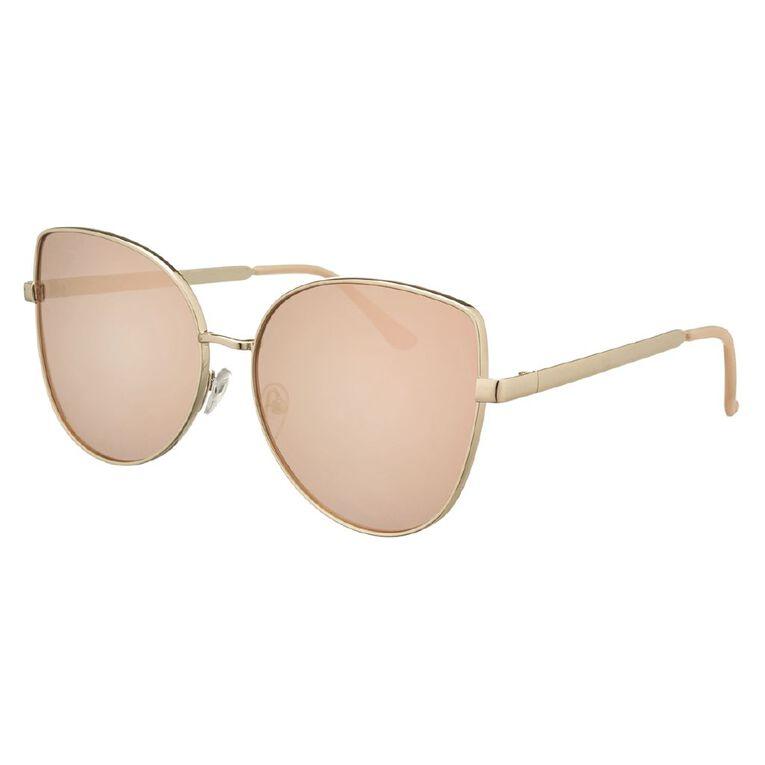 H&H Essentials Blush Metal Mirror Sunglasses, Pink, hi-res