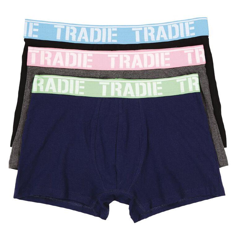 Tradie Men's Trunks 3 Pack, Navy, hi-res