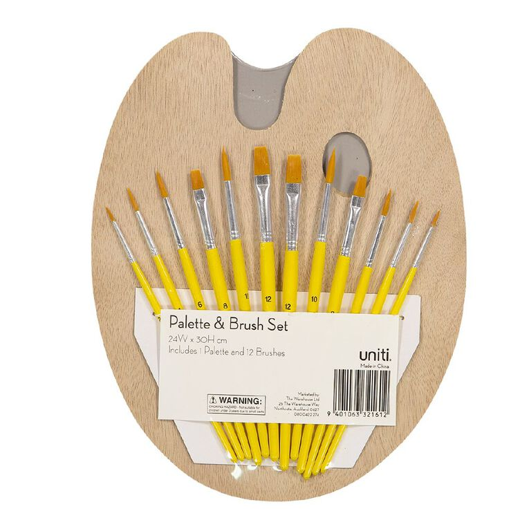 Uniti Wooden Palette & Brush Set 12pc Natural, , hi-res