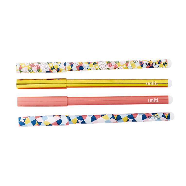 Uniti Geo Pens 4 Pack Multi-Coloured, , hi-res