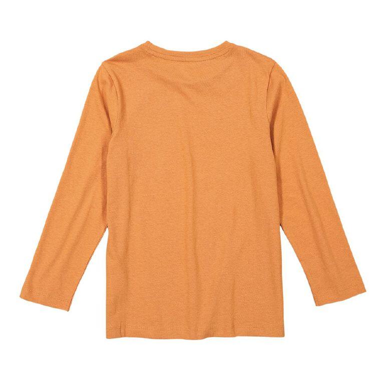 Young Original Long Sleeve Print Tee, Orange Dark, hi-res