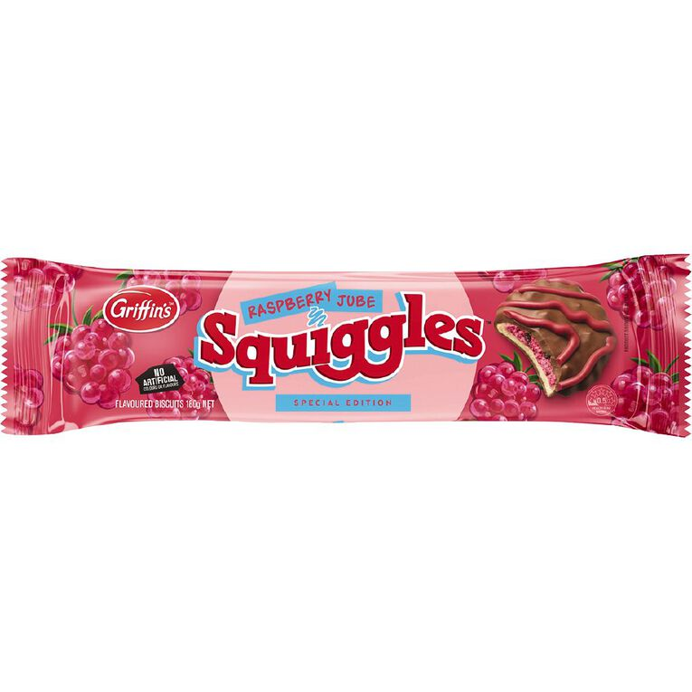 Griffin's Squiggles Raspberry Biscuits 180g, , hi-res