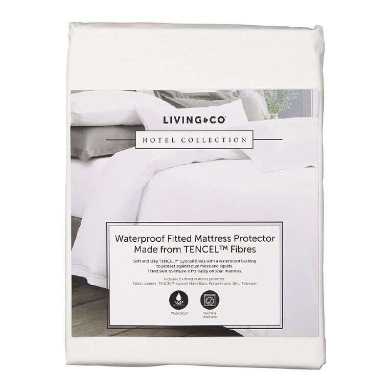 Living & Co Hotel Collection Mattress Protector Tencel White Single, White, hi-res