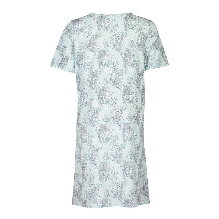 H&H Women's Short Sleeves Nightie, Mint, hi-res