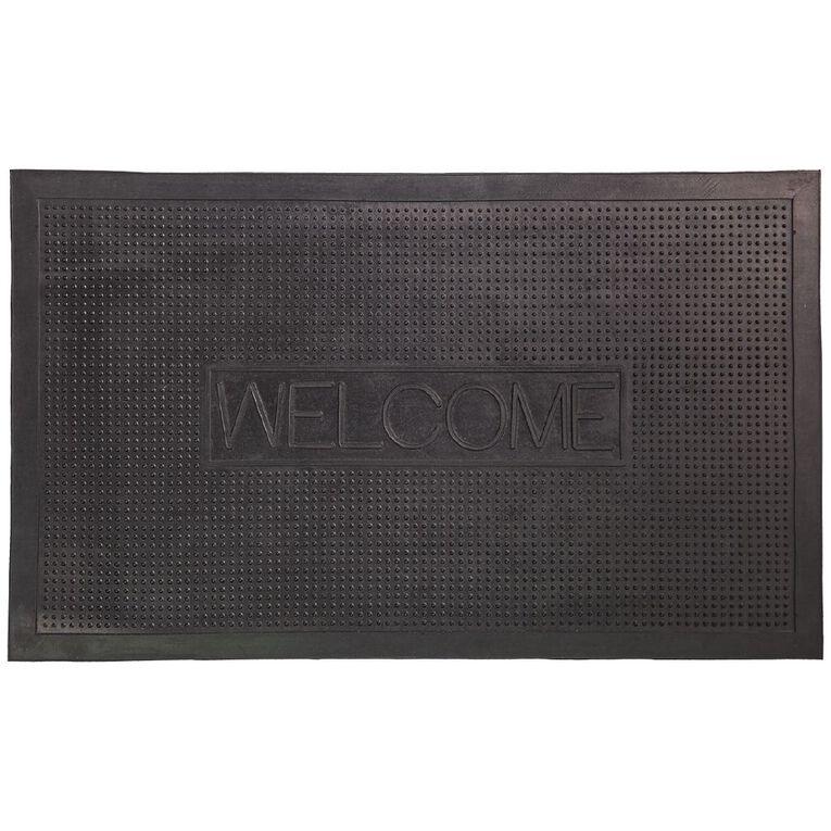 Living & Co Welcome Rubber Door Mat Black 45cm x 75cm, Black, hi-res image number null