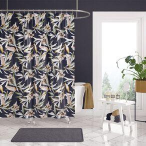 Living & Co Shower Curtain Print Ava Navy 180cm x 180cm