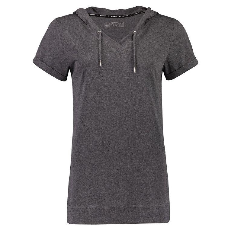 Active Intent Women's Hooded Tee, Grey Dark, hi-res
