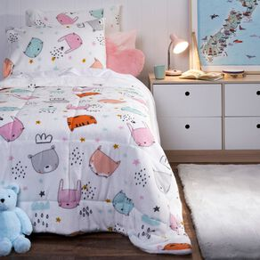 Living & Co Kids Comforter Set Sherpa Forest Friends Pink King Single