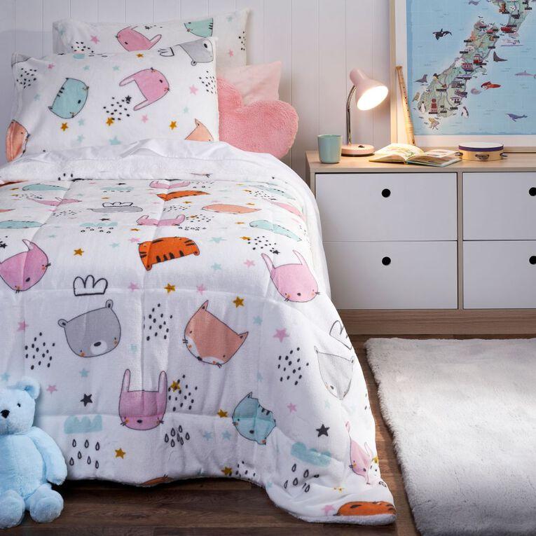 Living & Co Kids Comforter Set Sherpa Forest Friends Pink King Single, , hi-res