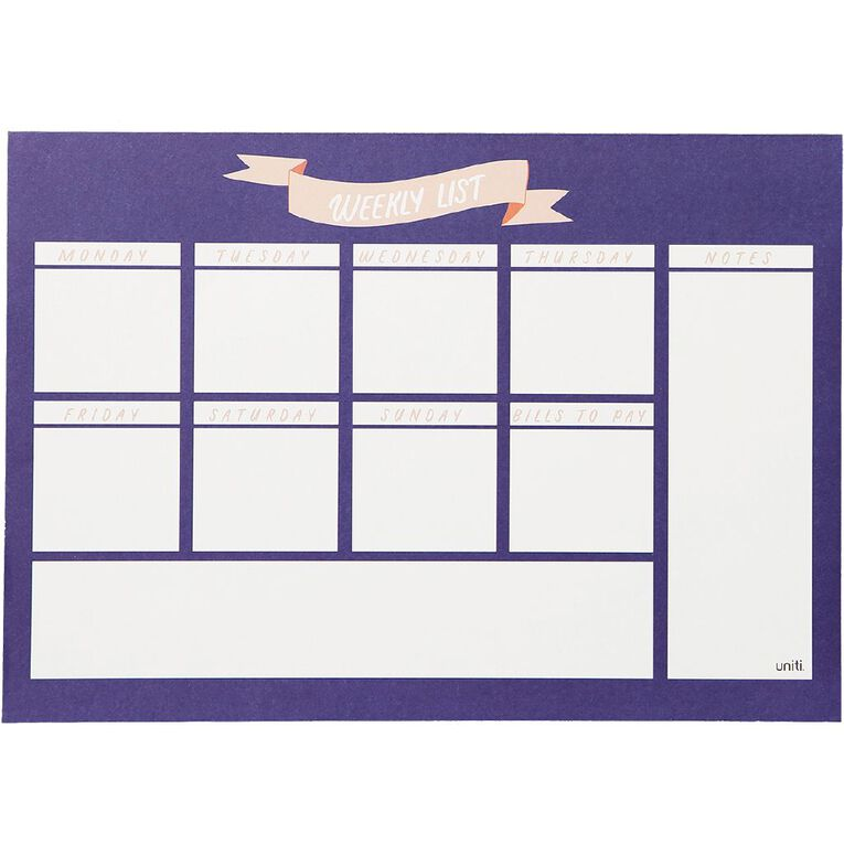 Uniti Empowerment Weekly Planner Navy A4, , hi-res