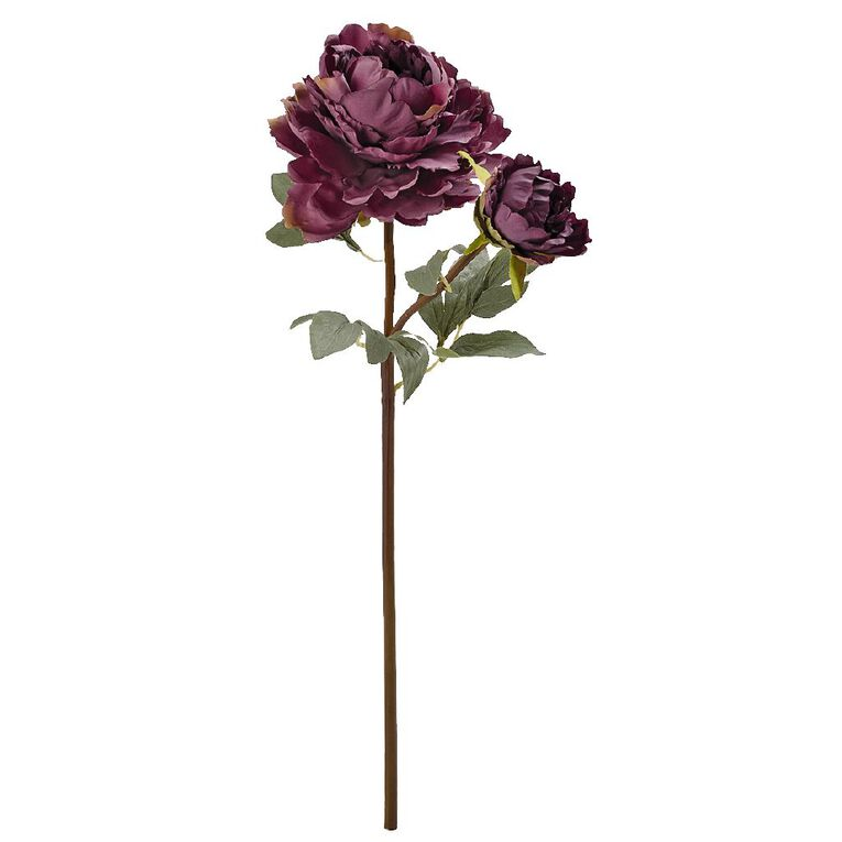 Living & Co Artificial Luxury Peony Spray Purple 65cm, , hi-res image number null