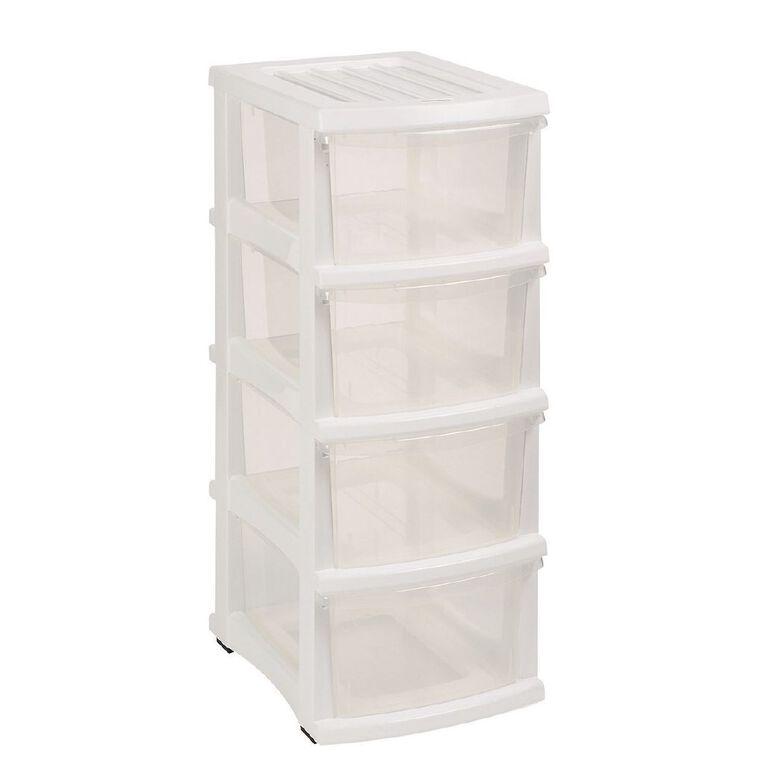 Taurus Storage Drawers White 4 Tier, , hi-res