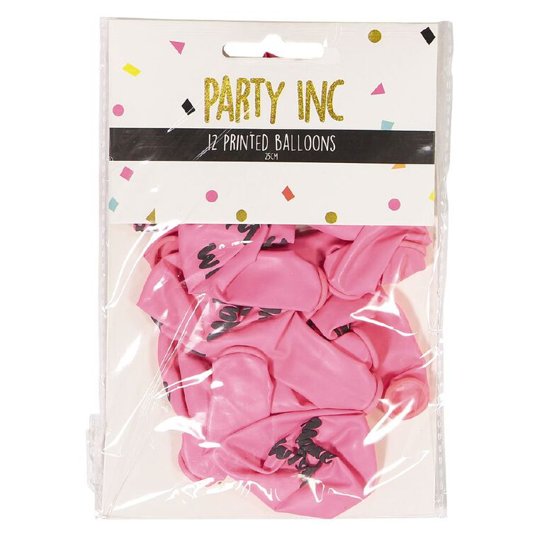 Party Inc Printed Balloons Make A Wish 25cm 12 Pack, , hi-res