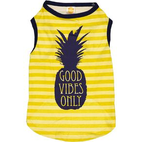 Simply Dog Yellow Good Vibes Only Pineapple Tee Large