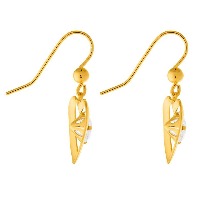 9ct Gold CZ Heart Drop Earrings, , hi-res
