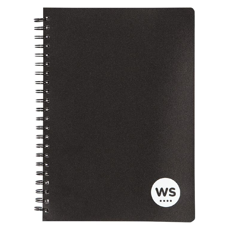 WS Notebook PP Wiro 200 Page Soft Cover Black A4, , hi-res